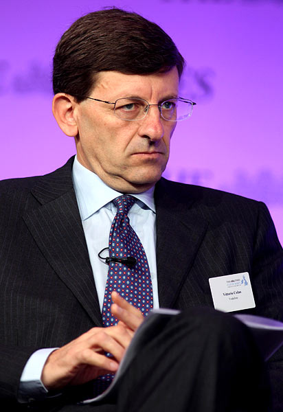 Vittorio Colao the Chief Executive of Vodafone Group listens during The Times CEO summit at the Savoy Hotel on June 21, 2011 in London, England.