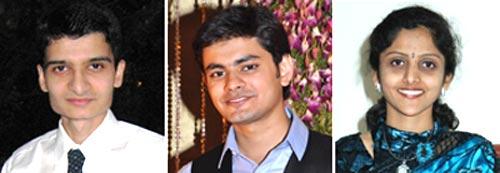 LtoR: Abdullah Fakih (CS first rank), Aditya Daga (second rank), Annapurna Srikanth (third rank)