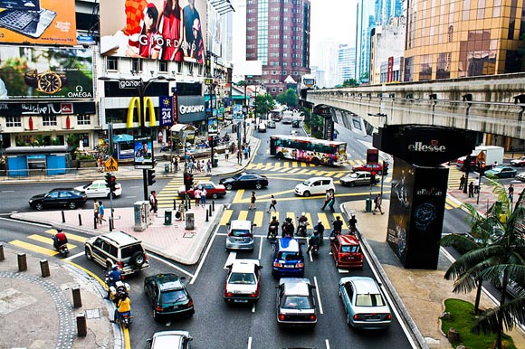 Bukit Bintang, one of the prominent shopping and entertainment districts of Kuala Lumpur