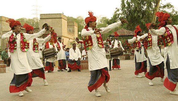 People perform the bhangra and usher in the New Year