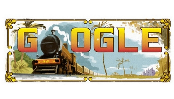 Google celebrates the 160th anniversary of the first passenger train in India with a doodle.