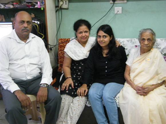 Ashwini with her parents and grandmother