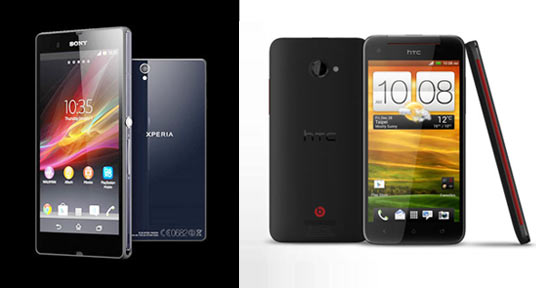 A collage of Sony Xperia Z and HTC Butterfly