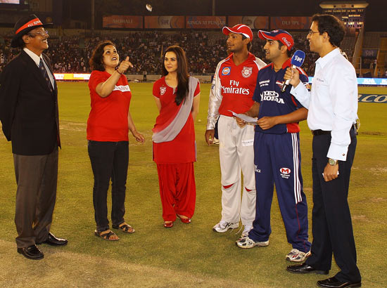 The coin toss is undertaken before the 2010 DLF Indian Premier League T20 group stage match between the Kings XI Punjab and the Delhi Daredevils played at the Punjab Cricket Association Stadium on March 13, 2010 in Mohali, India.
