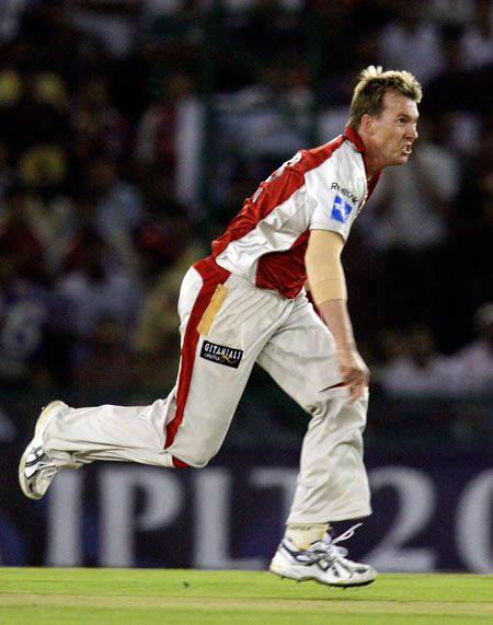 Brett Lee of the Kings IX bowling during the 2010 DLF Indian Premier League T20 group stage match between Mumbai Indians and Kings IX Punjab played at PCA Stadium, Mohali on April 09, 2010 in Mohali, India.
