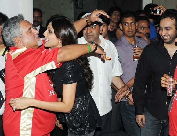 Vijay Mallya,Shilpa Shetty and Raj kundra at the IPL Nights after party following the 2010 DLF Indian Premier League T20 group stage match between the Royal Challengers Bangalore and Rajasthan Royals at the ITC Gardenia on March 18, 2010 in Bangalore, India.