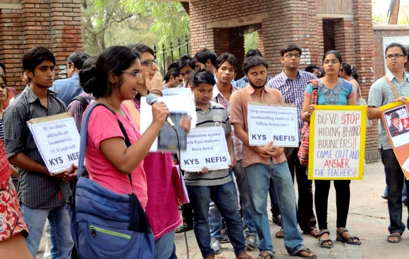 Students of Sri Ram College of Commerce in Delhi express their solidarity during a protest march