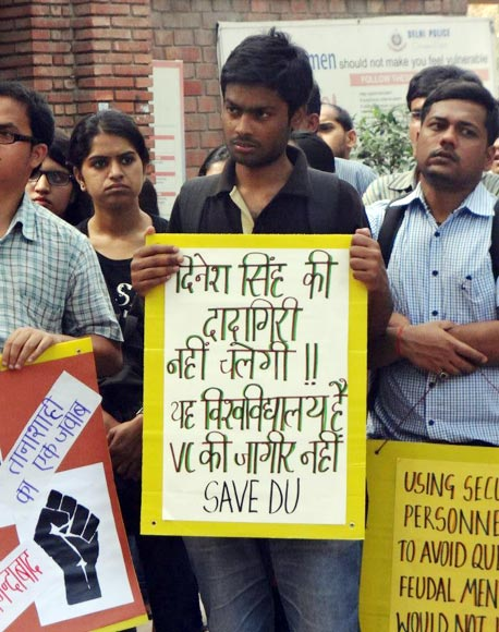 Students protest against the implementation of the FYUP