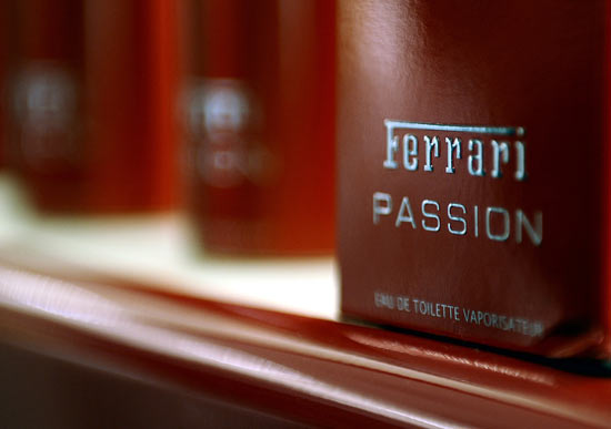 Ferrari perfume is seen at the Ferrari store in central London May 6, 2009. Currently a chain of twenty outlets worldwide, the first Ferrari Store in Britain opened to the public in London's Regent Street on Wednesday, selling the whole range of the Italian sports car manufacturer's merchandise.