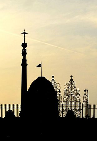 A silhouette of the iconic dome of the Rashtrapati Bhavan and the Jaipur Column