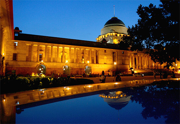 A view of India's presidential palace Rashtrapati Bhawan is seen during the evening in New Delhi.