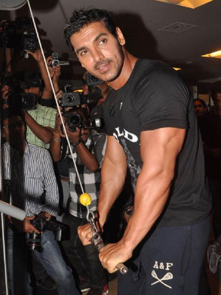 John Abraham promoting the movie Force in Gold Gym Bandra