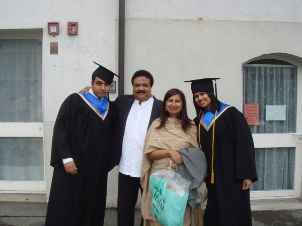 Pooja Dhingra with her parents Jaikishan and Seema and her brother Varun on the day of their graduation from Cesar-Ritz, Switzerland.