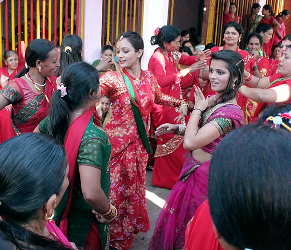 The Teej festival heralds the rainy season. It is dedicated to Hindu Lord Shiva and his wife Parvati and is the time when married women pray for a happy and long married life.