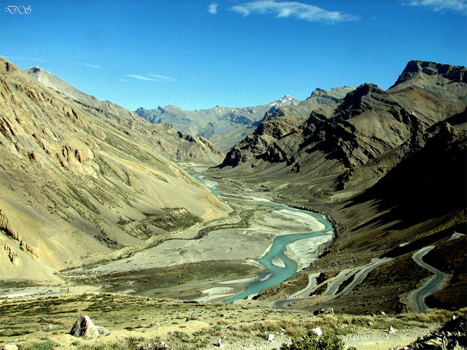 On the way to Khardung La, a high mountain pass in Ladakh region of Jammu and Kashmir.