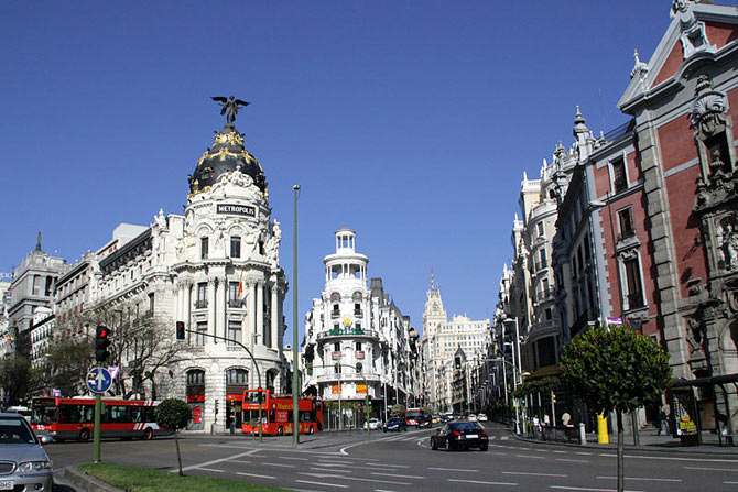 View from Calle de Alcalá street in Madrid, Spain