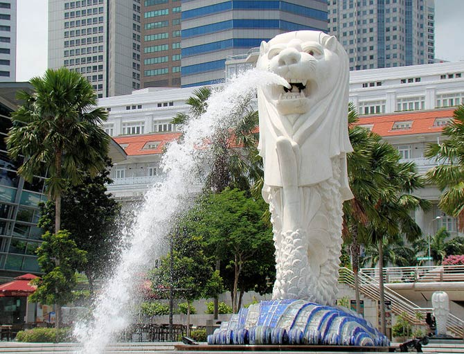 A statue in Merlion Park near the Central Business District in downtown Singapore.