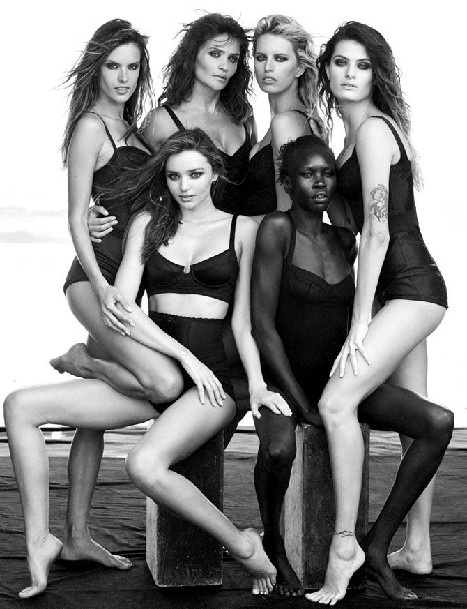 Clockwise from top left: Alessandra Ambrosio, Helena Christensen, Karolina Kurkova, Isabeli Fontana, Alek Wek and Miranda Kerr