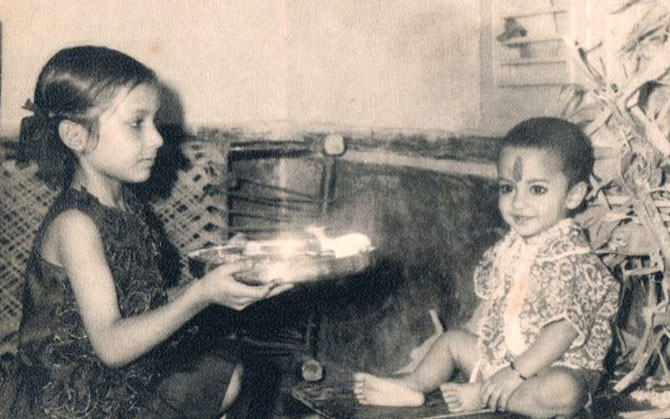 Prabhat Mishra with his sister Sandhya