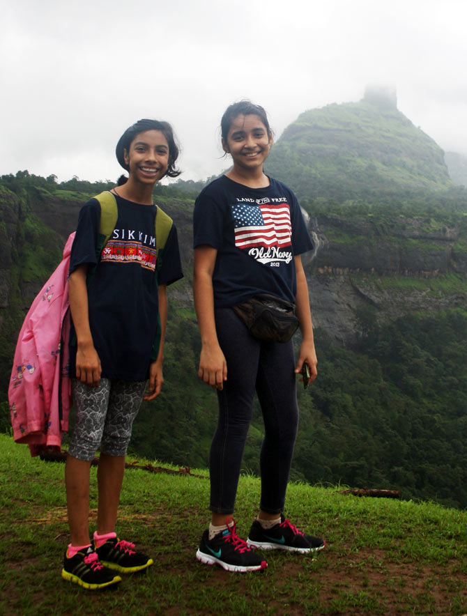 Ria, left, with her friend Pooja en route to Peth Gadh