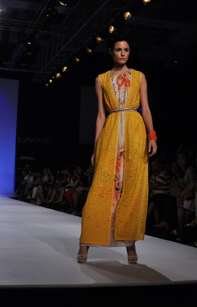 A yellow kaftan by Ranna Gill