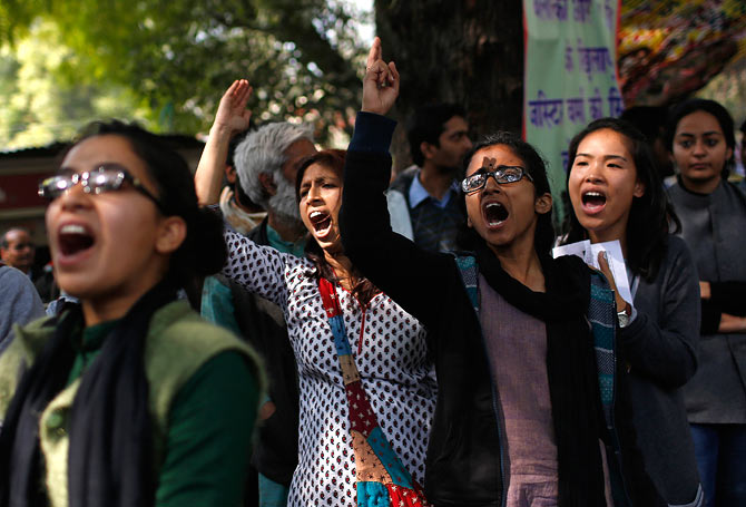 Demonstrators during a protest for stringent rape laws near Parliament in New Delhi February 21, 2013.