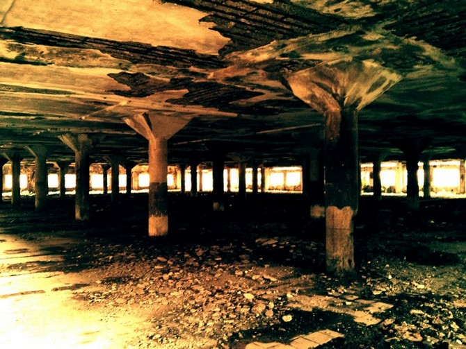 A sprawling pillared hall within the Shakti Mills compound that seems almost Chernobyl-esque
