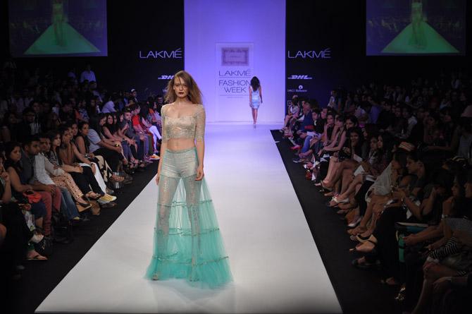 Anastasia Kuznetsova showcases a Shehlaa Khan creation.