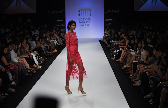 A model showcases a Sailex creation.