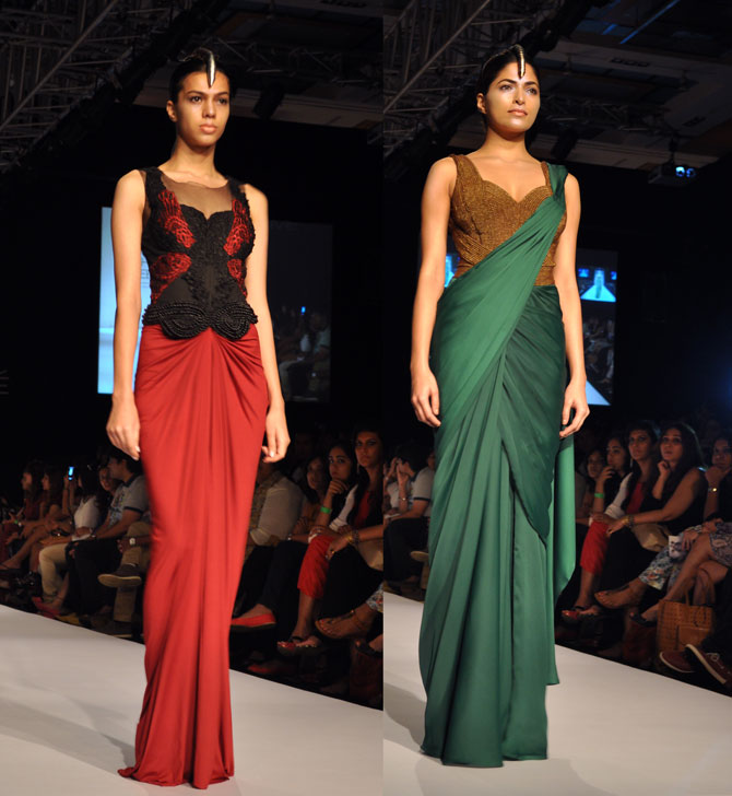 Amit Aggarwal's creations in green and red