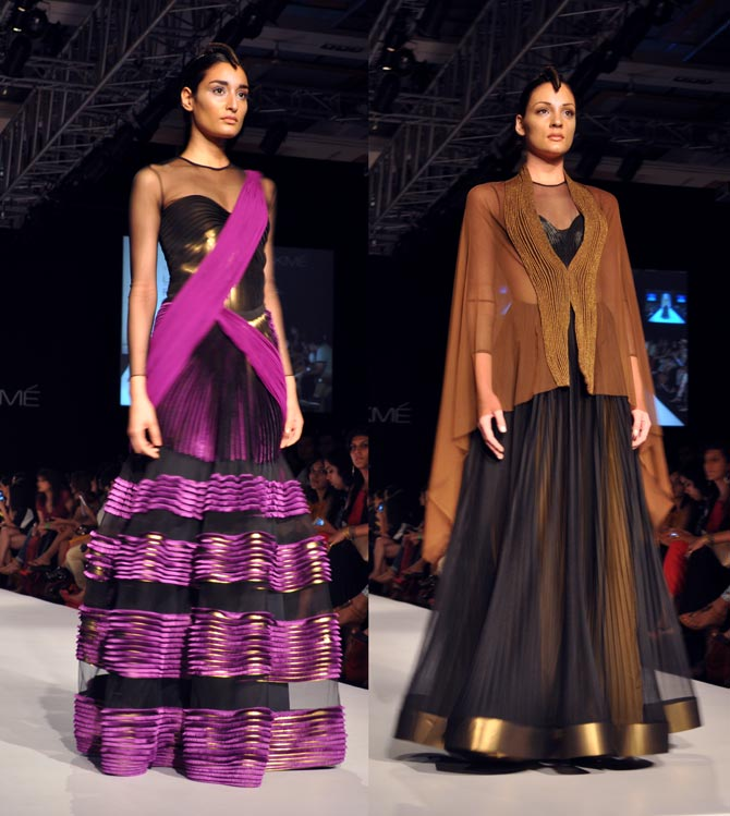 Amit Aggarwal's creations in pink and black
