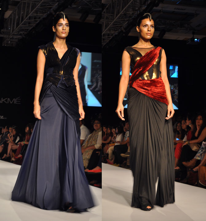 Amit Aggarwal's creations in blue and black