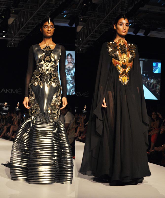 Amit Aggarwal's outfits in metallic grey and black