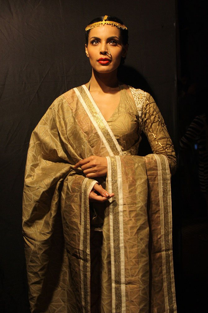 Model Deepti Gujral at Lakme Fashion Week.