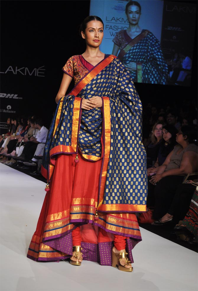 Model Sanea Sheikh in a Shruti Sancheti creation