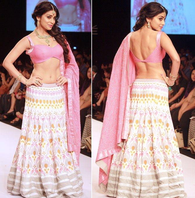 Shriya Saran in a Shravan Kumar creation.