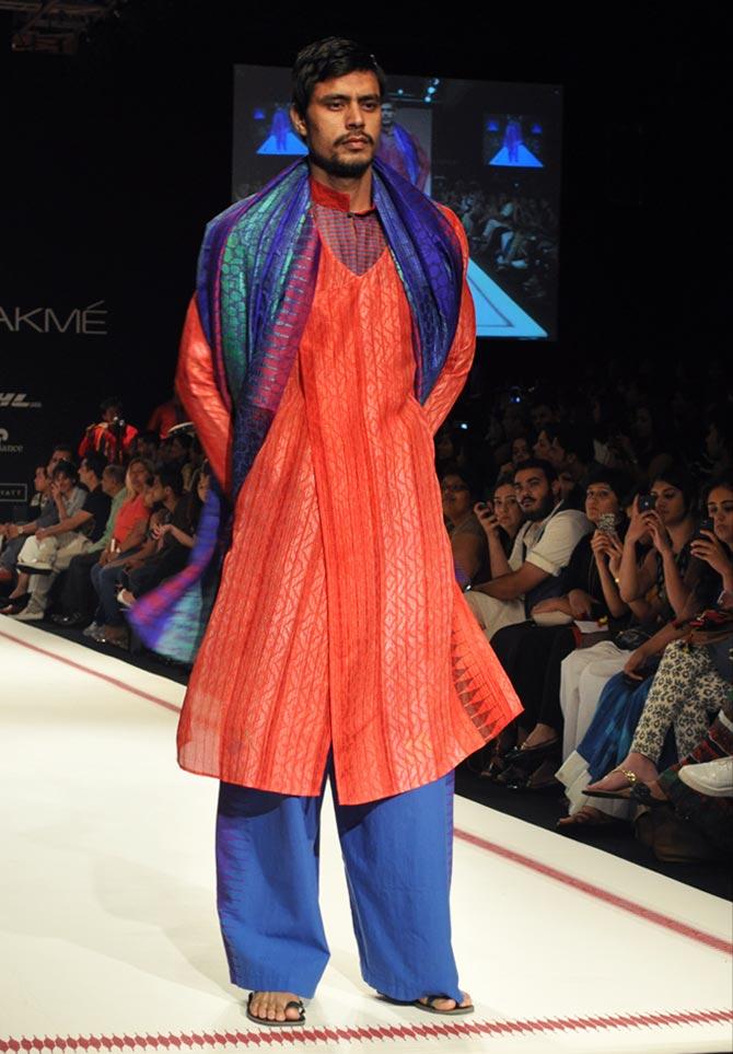 Model Reha Sukheja showcases a Krishna Mehta creation.