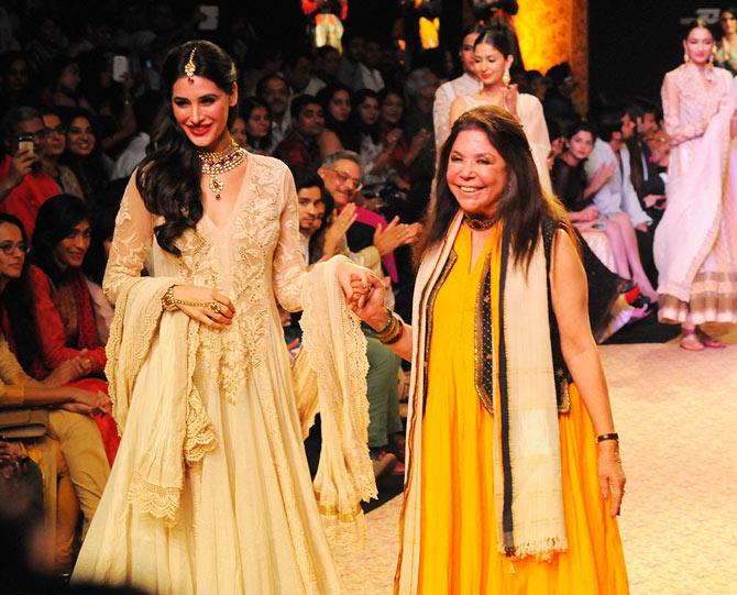 Designer Ritu Kumar with her showstopper Nargis Fakhri.