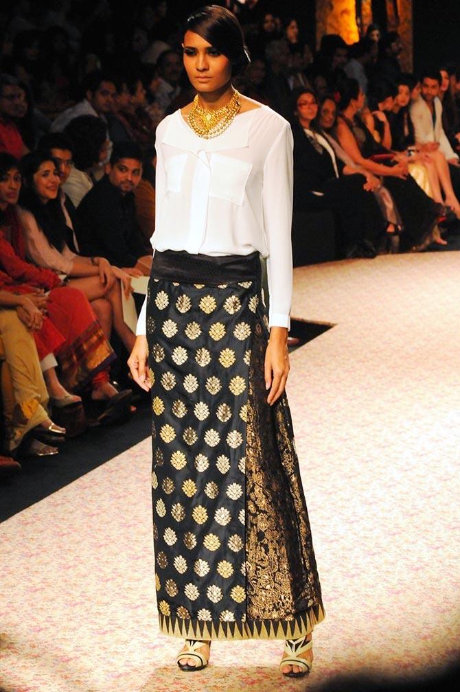 A model in a Ritu Kumar creation