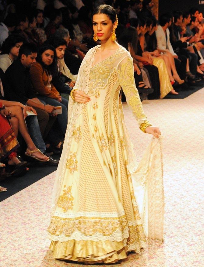 Model Anita Kumar in a Ritu Kumar creation
