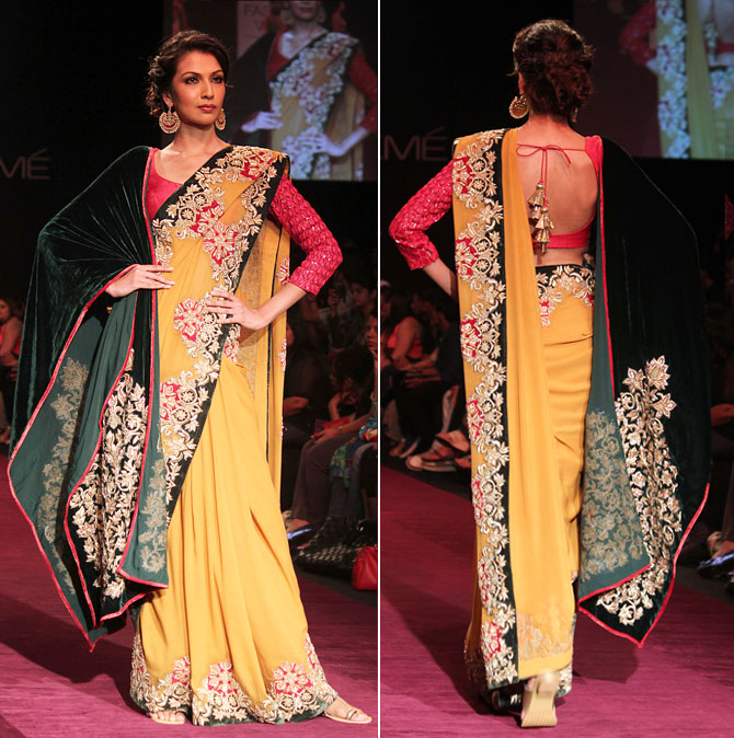 Model Sanea Sheikh showcases a Shyamal and Bhumika creation.