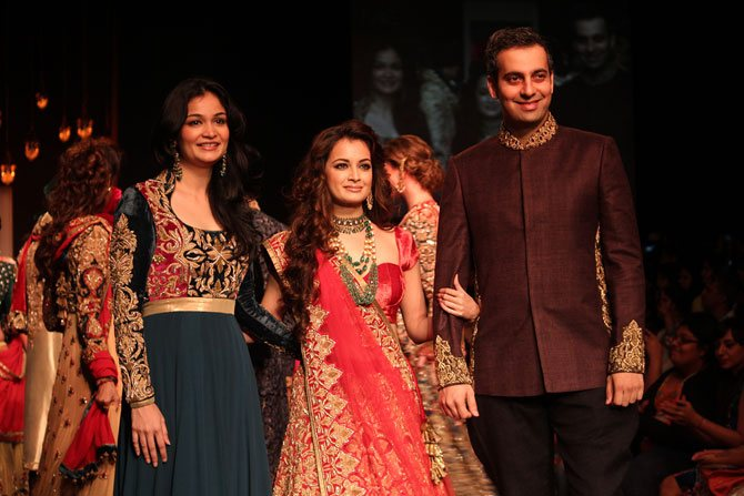 Shyamal and Bhumika with Dia Mirza, their showstopper.