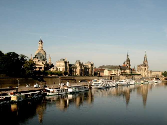 Dresden old city on the banks of the Elbe