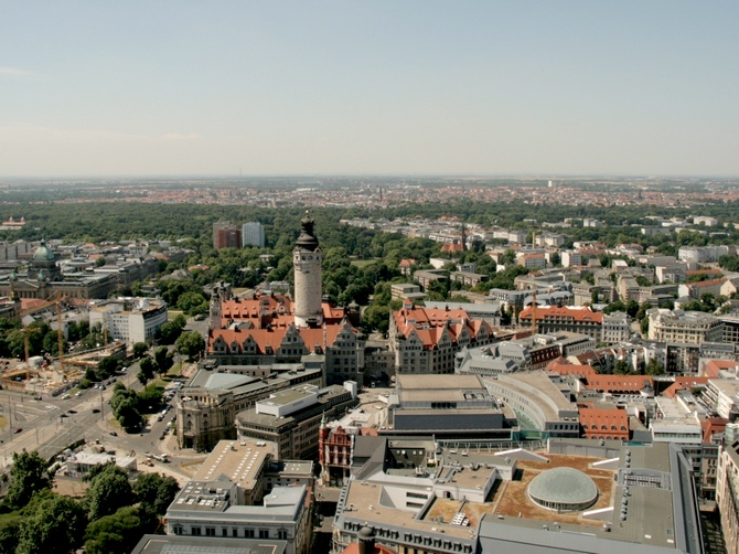 A bird's eye view of Leipzig.