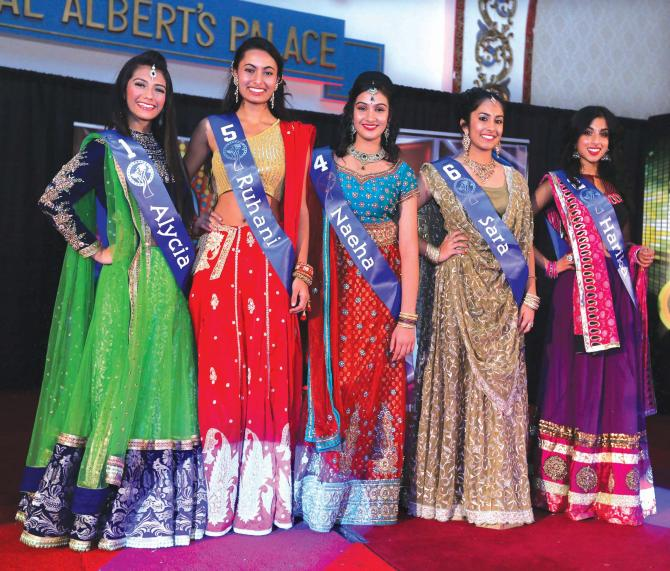 The Miss Teen India USA top five. Alycia Rehmatullah is on left; Sara Ahmed is second from right.