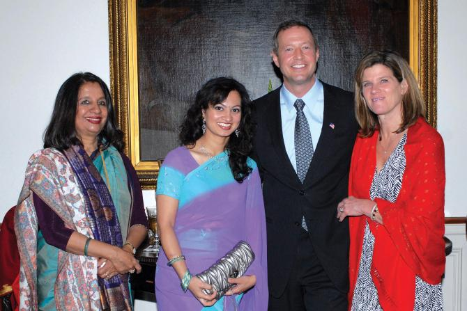 Ishani Chowdhury, second from left, with Maryland Governor Martin O'Malley and his wife, second from right and right respectively, and Nirupama Rao, former Indian ambassador to