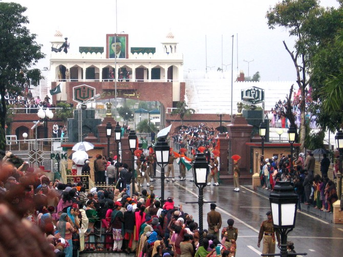 The Beating Retreat ceremony at the Wagah Border