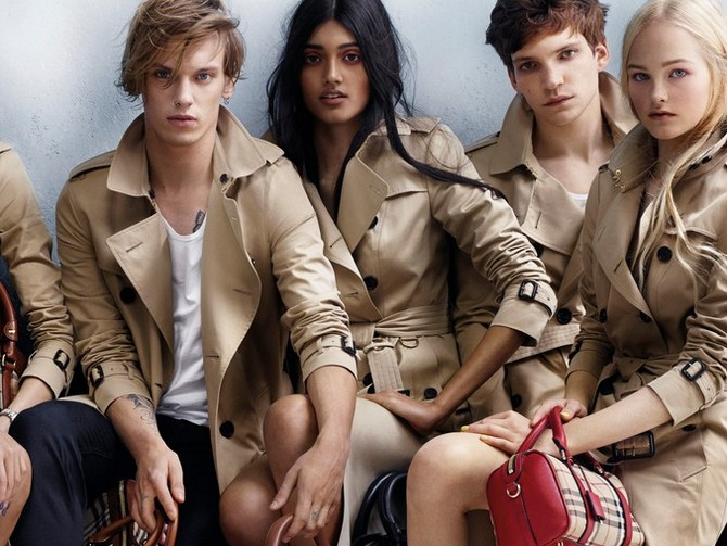 Neelam Johal with Jamie Campbell Bower and Lady Jean Campbell in Burberry's latest Spring/Summer 2014 campaign.