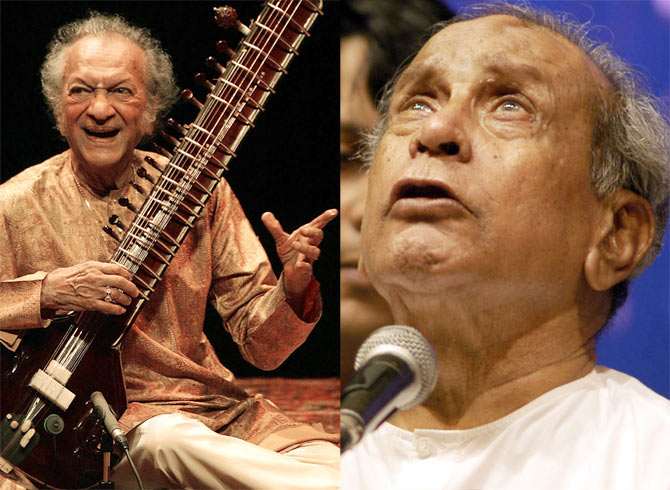 Indian legendary sitar player Ravi Shankar and (right) Pandit Bhimsen Joshi