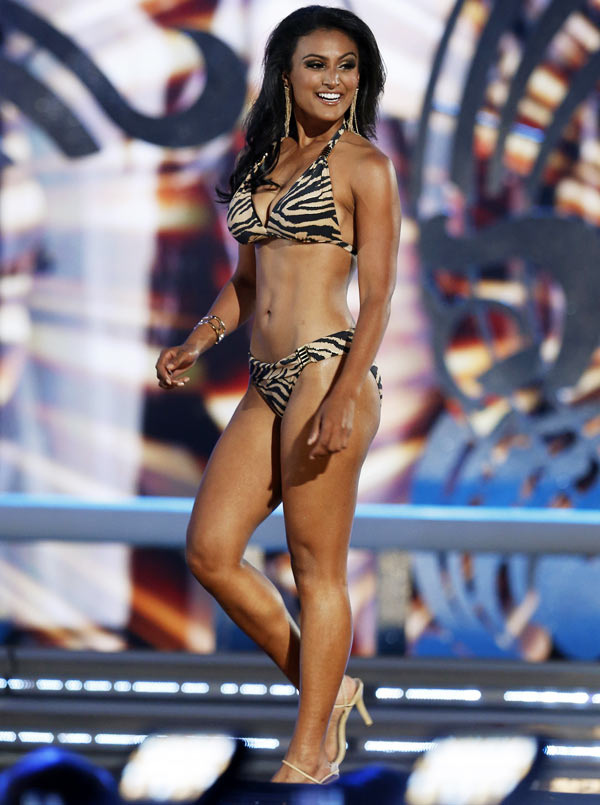 Miss America contestant, Miss New York Nina Davuluri wears her bathing suit as she competes in the 2013 Miss America Pageant in Atlantic City, New Jersey, September 15, 2013.
